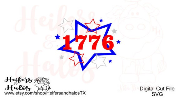 1776 USA Patriotic 4th of July SVG cut file for cricut and silhouette.  Great for for t-shirts, decals, and yeti cups.