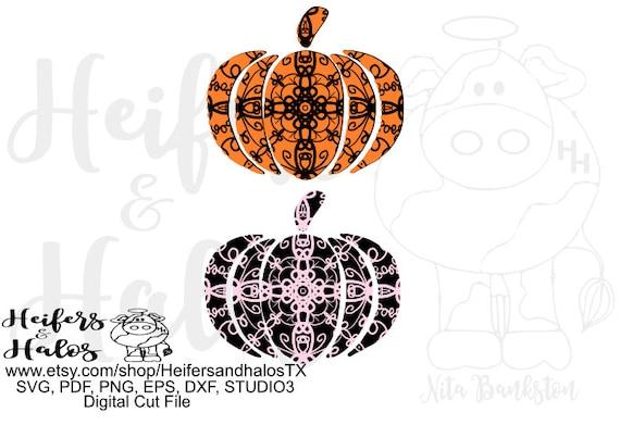 Pumpkin mandala pattern, Halloween pumpkin, fall pumpkin, digital file, digital cut file, cricut, silhouette, svg, pdf, png, eps, dxf studio