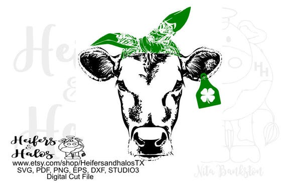 St. Patrick's Day Cow, svg, pdf, png, eps, dxf, studio3, cute for t-shirt, cup, and decal designs, cricut, and silhouette