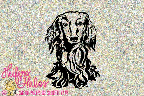 Dachshund long hair doxie digital file, cut file, printable, sublimation, design for t-shirts, decals, stickers, cricut, silhouette