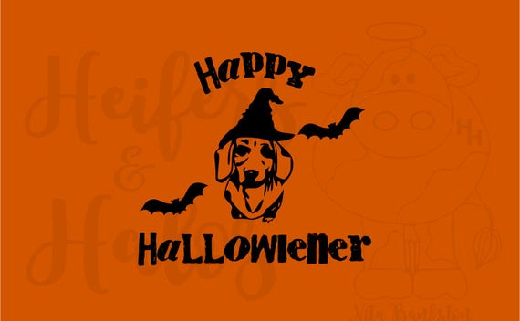 Happy Hallowiener Dachshund, Doxie Halloween digital cut file, svg, pdf, png, eps, dxf, studio3, for cricut and silhouette use for t-shirts