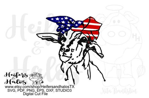 USA Flag bandana goat digital file, digital cut file, sublimation, printable, cricut, silhouette, svg, pdf, png, eps, dxf t-shirt design
