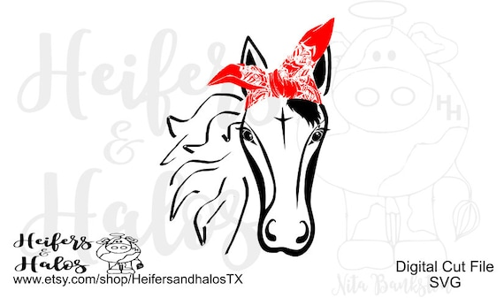 Bandana Horse svg, pdf, png, eps, dxf cut file for cricut and silhouette.  Use on t-shirts, decals, yeti cups, water bottles