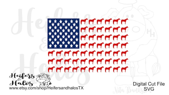 Horse flag svg cut file for cricut & silhouette - horse svg, patriotic, 4th of July, flag, western, country, t-shirts, decals, yeti cups
