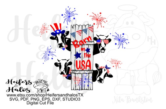Barn in the USA digital file, printable, digital cut file, sublimation, svg, pdf,png, eps, dxf cricut silhouette, cows, 4th of July