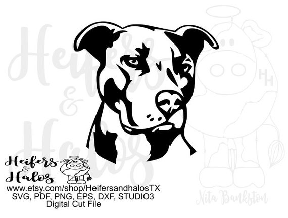 Pitbull head graphic digital file, for use in design, clip art, sublimation, cutting, printing, stickers