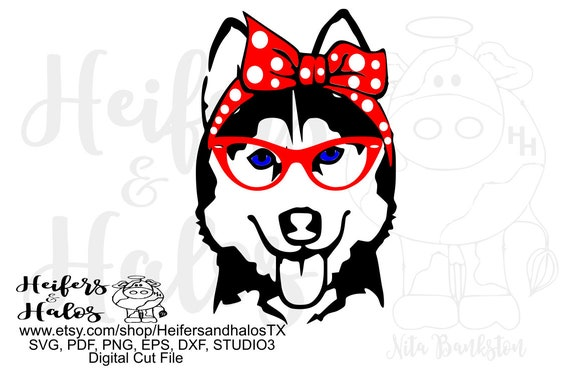 Bandana husky with glasses girl, digital file, digital cut file, printable, sublimation, svg, pdf, png, eps, dxf, cricut, sillhouette