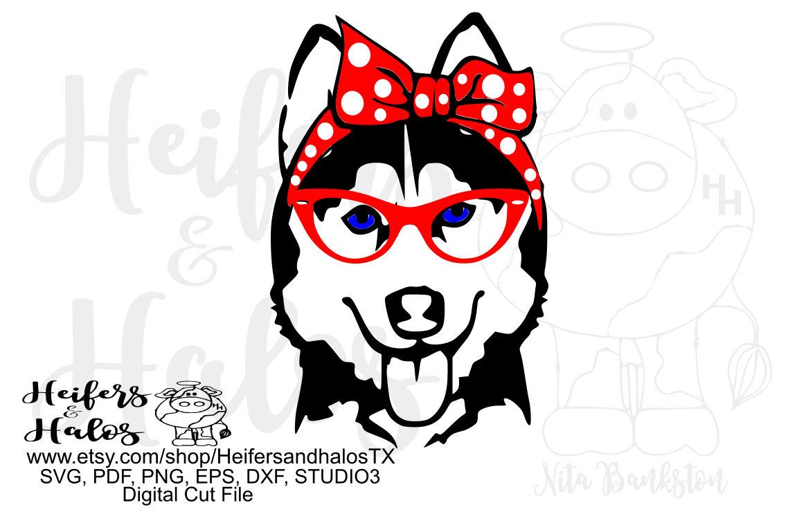Bandana Husky With Glasses Girl Digital File Digital Cut