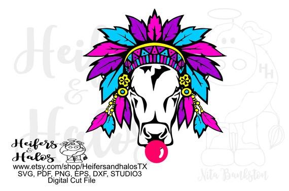 Gypsy cow heifer digital file, sublimation, printable, digital cut file, svg, pdf, png, eps, dxf, ranchy, punchy. cow svg