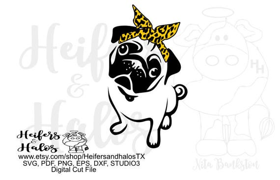 Pug with bandana digital file for cutting machines, sublimation, t-shirt design, printing, cup design, decal design, svg, pdf, png, eps, dxf