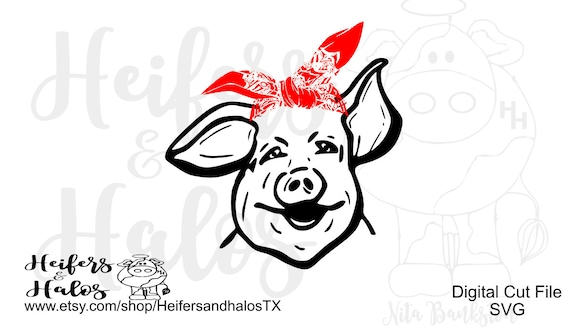 Pig with bandana svg, pdf, png, eps,dxf, studio3, sublimation, print, digital file, cricut, silhouette, brother, cut file