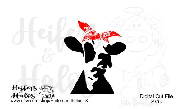 Bandana cow heifer dairy version, digital cut file for cricut, silhouette cameo, sublimation, print, svg, pdf, png, eps, dxf, studio3