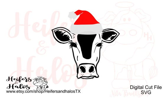 Santa Cow cattle heifer digital cut file for Christmas svg, pdf, png, eps, dxf, studio3, t-shirts, decals, cups, farming, ranching, punchy