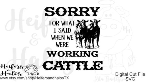 Sorry for what I said when we were working cattle svg, png, pdf, cut file for cricut and silhouette, ranchy, western, country t-shirt, decal