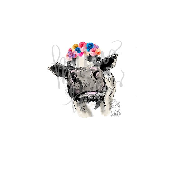 Heifer cow with floral/flower crown.  Hand drawn png digital download for printing, sublimation, print then cut, cricut, silhouette
