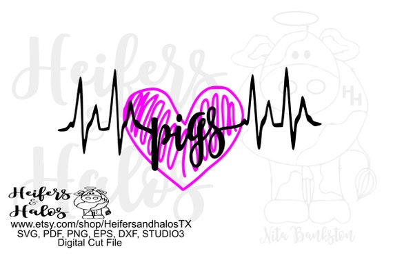 Pigs heartbeat pig digital file, printable, sublimation, digital cut file, svg, pdf, png, eps, dxf, cricut, silhouette, t-shirt design