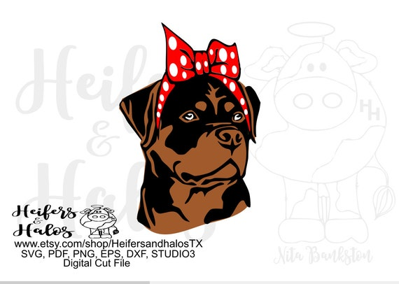 Bandana Rottweiler digital file, digital cut file, sublimation, printable, svg, pdf, png, eps, dxf, bandana dog, cricut, silhouette