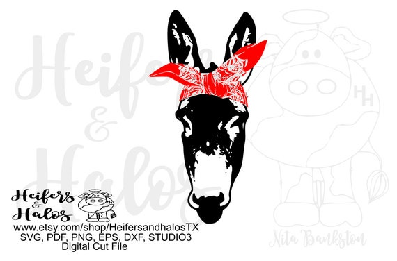 bandana donkey mule - some call it a donkey, some a mule, digital file, svg, pdf, png, eps, dxf, cut file, sublimation, printing