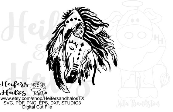 War Pony hand drawn digital file, sublimation, printable, digital cut file, svg, pdf, png, eps, dxf, cricut, silhouette