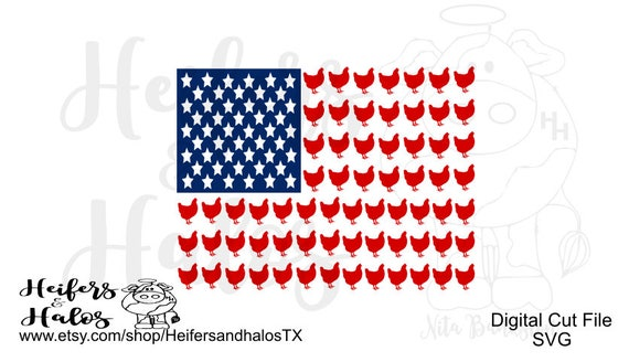 Chicken Flag svg, pdf, png, eps cut file, cricut, silhouette, country, farm,  4th of July, t-shirts, decals, yeti cups
