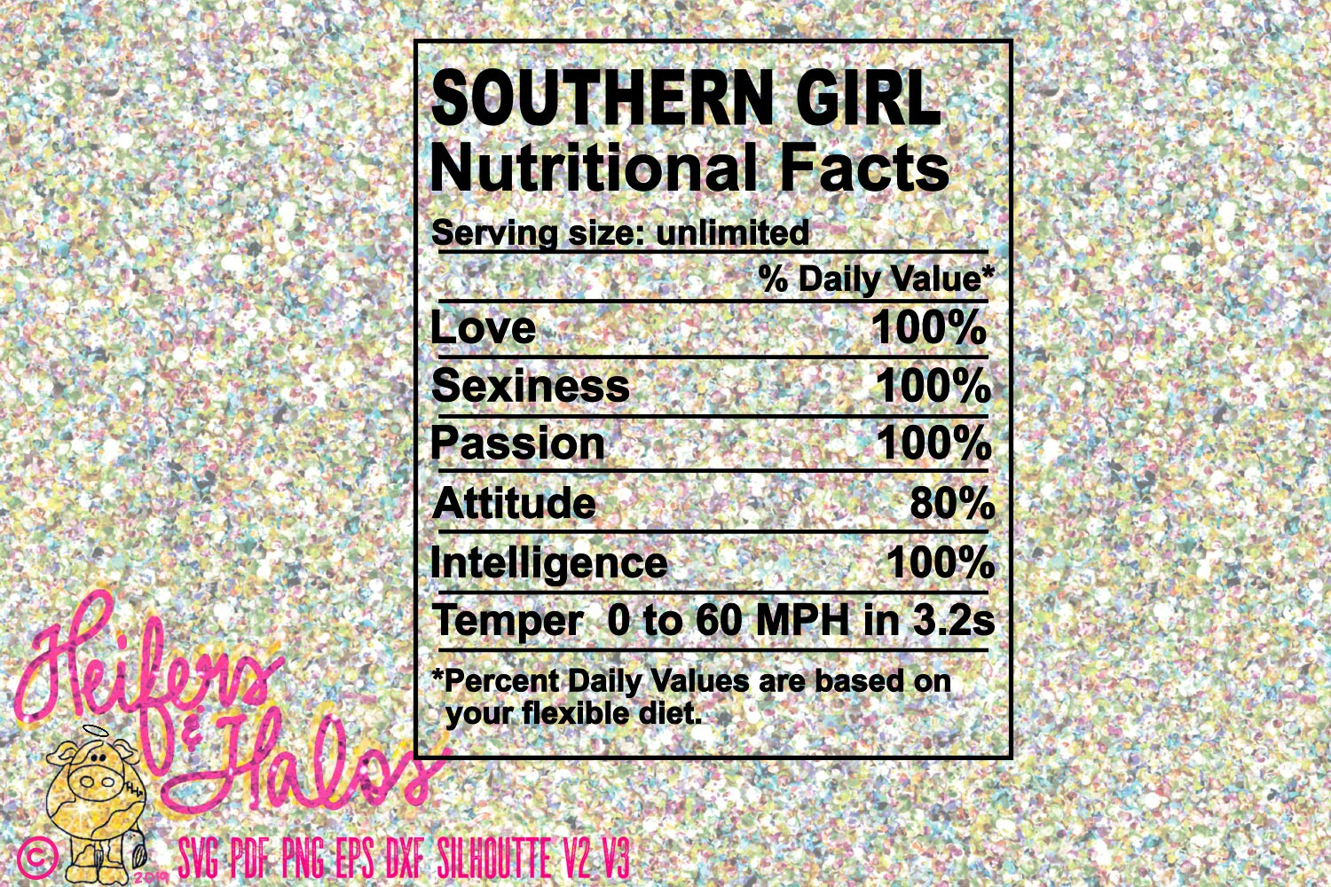 Southern Girl Nutritional Facts Printable Sublimation Cut Etsy