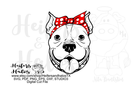 Bandana pitbull girl digital file, svg, pdf, png, eps, dxf, cricut, silhouette, printable, sublimation, digital cut file