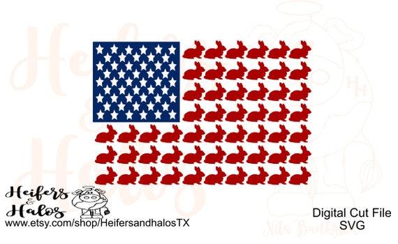 Rabbit Flag USA digital cut file, svg, pdf, png, eps, dxf, studio3, for t-shirts, decals, cups, 4H, FFA, rabbit show team, livestock show