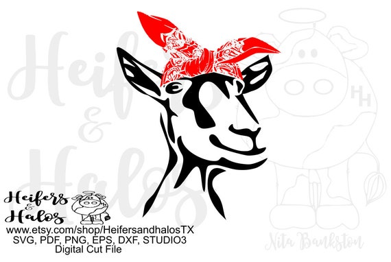 Bandana goat with tall ears digital file, printable, sublimation, digital cut file for cricut and silhouette