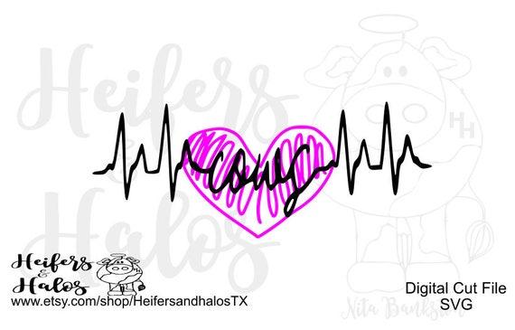 Cows heartbeat lifeline svg, pdf, png, eps, dxf, studio 3 digital CUT FILE cute for t-shirts, decals, etc. ranchy, punchy, farming, heifers