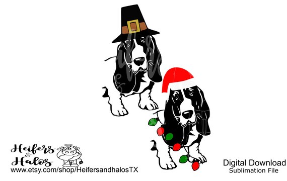Thanksgiving and Christmas holiday basset hound digital cut file, sublimation, svg, pdf, png, eps, dxf studio3, printable, sublimation