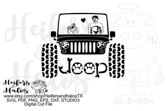 My English Bulldog rides shotgun with guy, digital file for t-shirts, decals, cups, svg, pdf, png, eps, dxf, studio3, jeep
