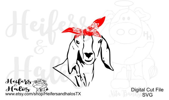 Bandana goat svg, pdf, png, eps, dxf, studio3, digital cut file, t-shirts, decals, cups, cricut, silhouette, farming