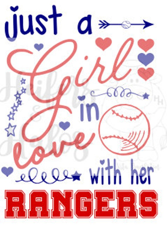 Just a Girl in Love with her Rangers svg file.  Great for baseball season on a tank or a tee, beach bag, or cup!