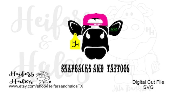 Snapbacks and Tattoos gangsta cow cut file, svg, sil, eps, pdf, png, eps, dxf, can be used for t-shirts, decals, cups, caps