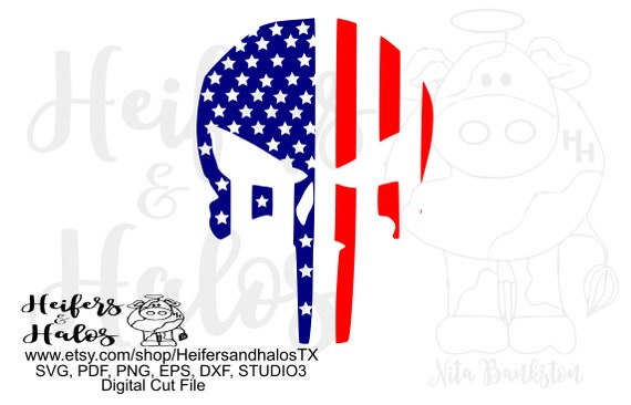 flag skull punisher digital file, digital cut file, printable, sublimation, cricut, silhouette, svg, pdf, png, eps, dxf, studio3, studio2