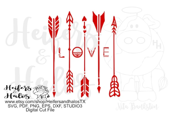 Love Arrows svg cut file for cricut, silhouette.  Boho, arrows, love svg for t-shirts, decals, yeti cups