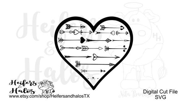 heart arrow - decorative svg for decals, t-shirts, and yeti cups, svg & png