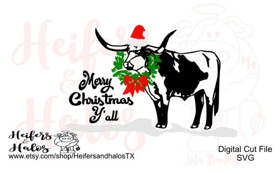 Merry Christmas Y'all Texas Longhorn Santa Christmas wreath digital cut file for t-shirts, decals, and cups. Use with cricut, sillhouette