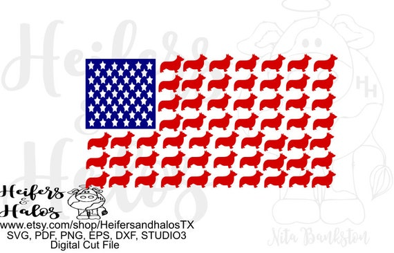 Corgi flag digital file, sublimation, printable, cut file, svg, pdf, png, eps,dxf