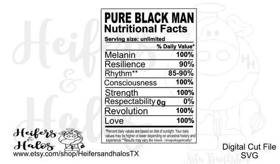 Pure Black Man Nutritional Facts cut file, svg, pdf, png, eps, dxf cut file for cutting machines like cricut & silhouette