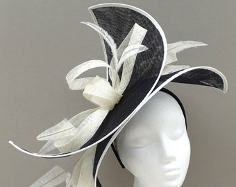 Wedding Elegant Latte /& White Mini Disc FascinatorCocktail Party Hat with Feathers and Pearls for Formal Event Derby Day. Ladies Day