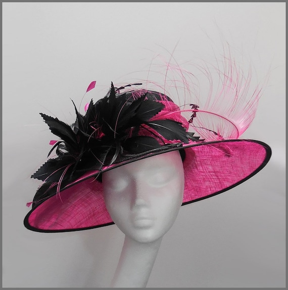86aa0f60e15 Wedding hat in black and fuschia pink for Mother of the Bride