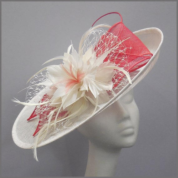 14bf6eb1b8a Coral pink and white fascinator hat wedding hat race day