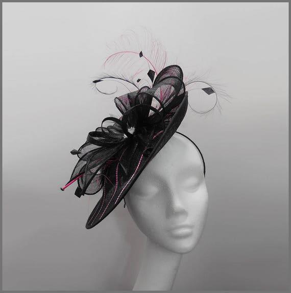 Tea party hat medium disc fascinator in black and fuschia  7601afd9795