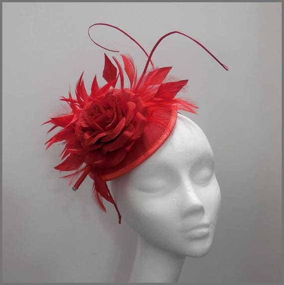 e400012ea6b Ladies day stunning red sinamay and feather disc fascinator
