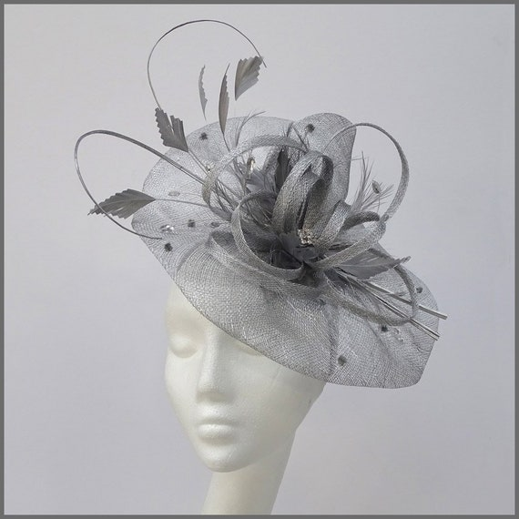 Metallic Silver /& Lilac Feather Hat Disc Fascinator for Ladies Day Royal Ascot Derby Day Formal Event