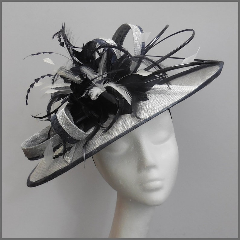 93cb169fe5a Wedding hat in navy and silver with feathers and ostrich