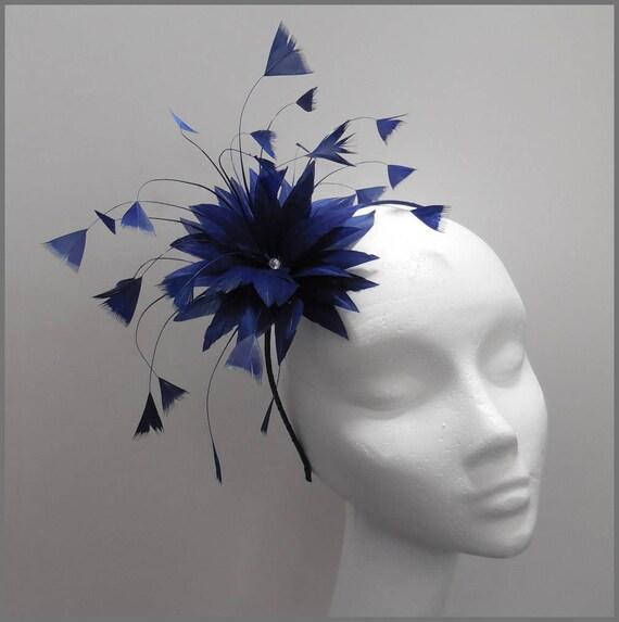 Fascinator de la Boda Peine De Plumas Damas Coral razas Damas día Ascot hair piece 2