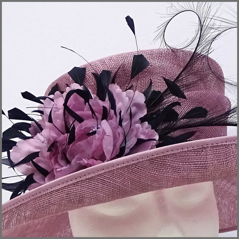 race day Derby Ascot or formal event. Floral heather pink ladies hat for wedding