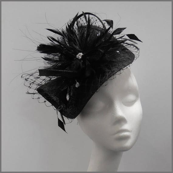 Black mini hat sinamay mini disc fascinator race day  4080ce994c9